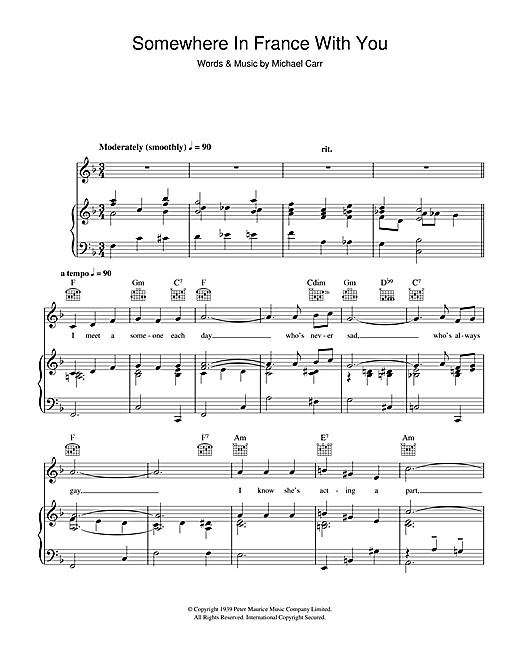 Somewhere In France With You Sheet Music