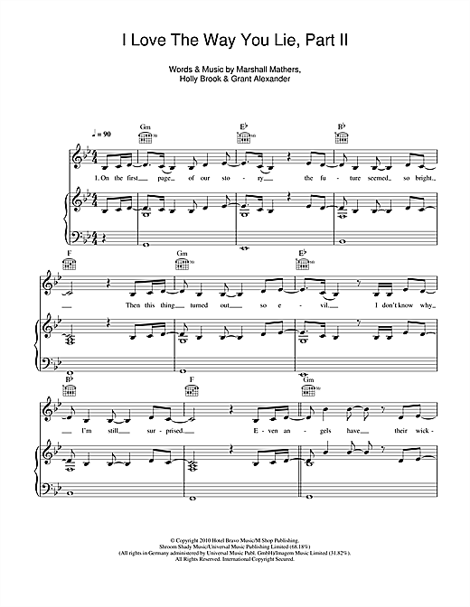 Love The Way You Lie, Pt. 2 (feat. Eminem) Sheet Music
