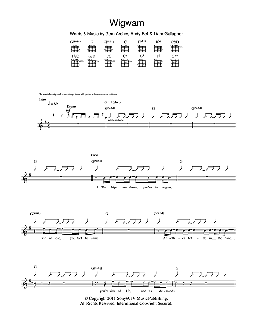Tablature guitare Wigwam de Beady Eye - Tablature Guitare