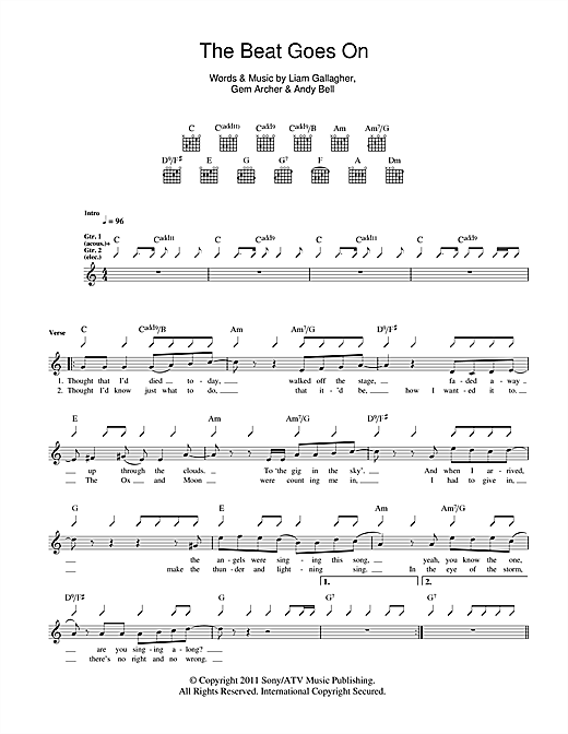 Tablature guitare The Beat Goes On de Beady Eye - Tablature Guitare