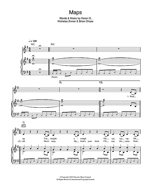 Maps (Piano, Vocal & Guitar (Right-Hand Melody))