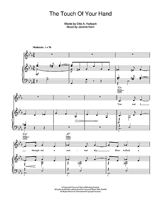 The Touch Of Your Hand Sheet Music