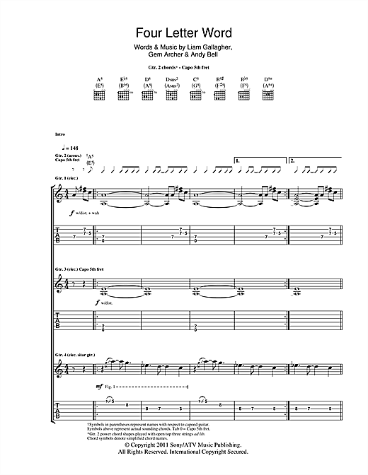 Four Letter Word (Guitar Tab)