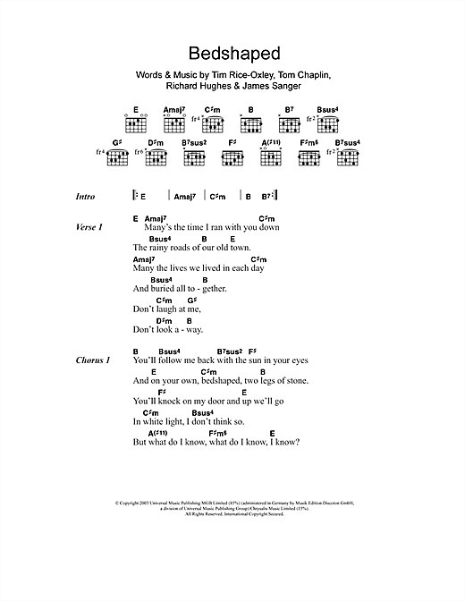 Bedshaped (Guitar Chords/Lyrics)
