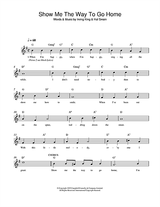Show Me The Way To Go Home (Lead Sheet / Fake Book)