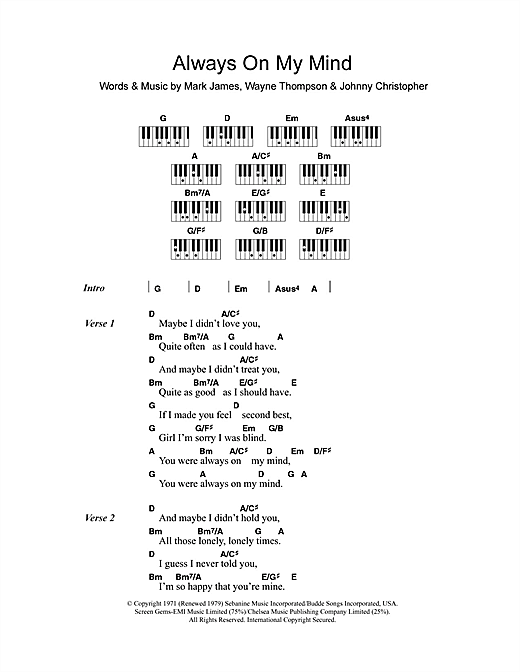 Piano 18 piano chords : Always On My Mind sheet music by Elvis Presley (Lyrics & Piano ...