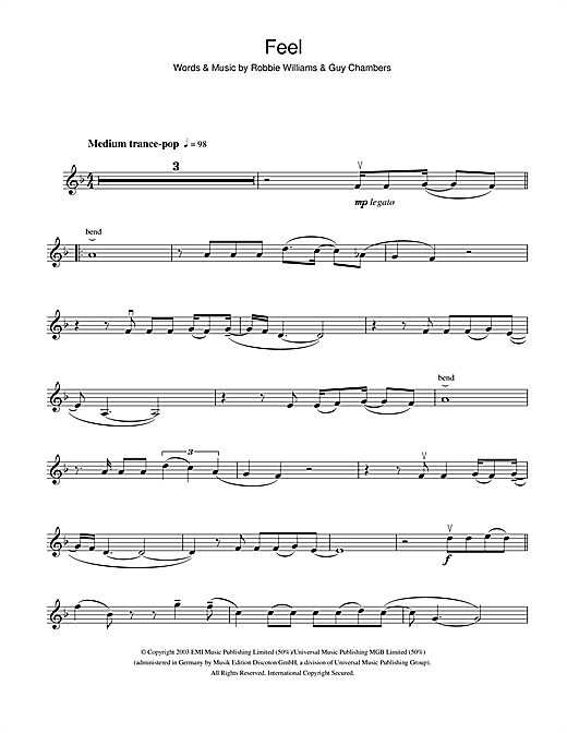 Partition autre Feel de Robbie Williams - Violon