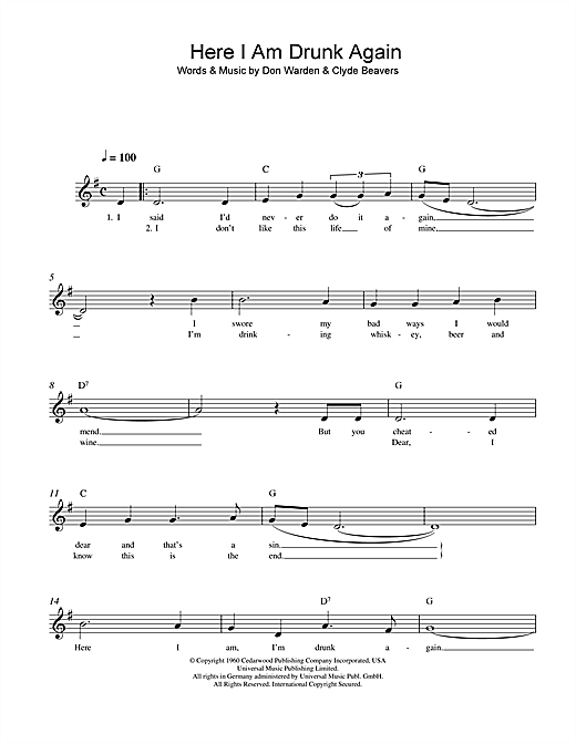 Here I Am Drunk Again Sheet Music