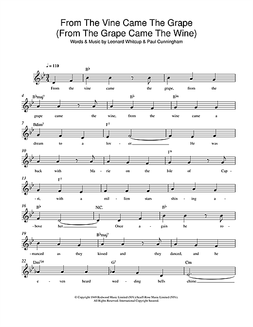From The Vine Came The Grape (From The Grape Came The Wine) Sheet Music