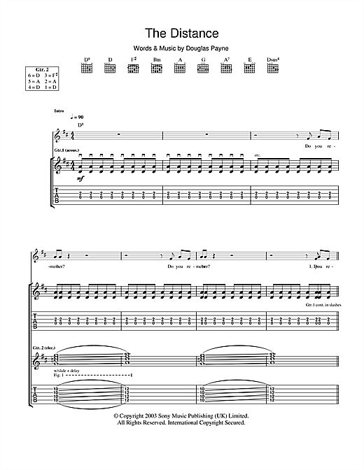 Tablature guitare The Distance de Travis - Tablature Guitare