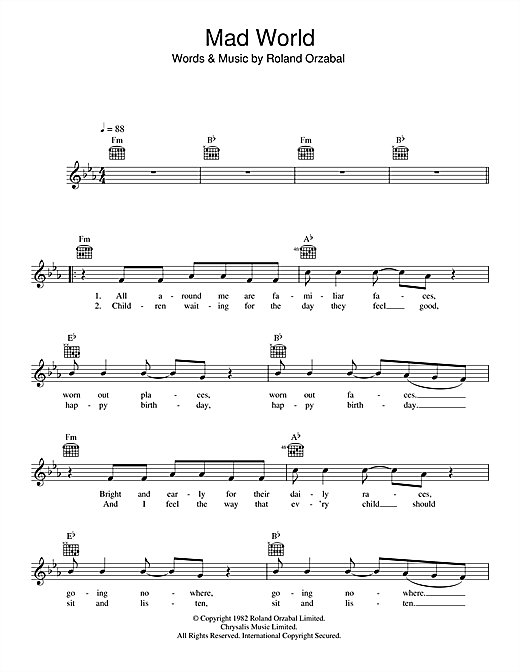 Mad World (from Donnie Darko) (Lead Sheet / Fake Book)