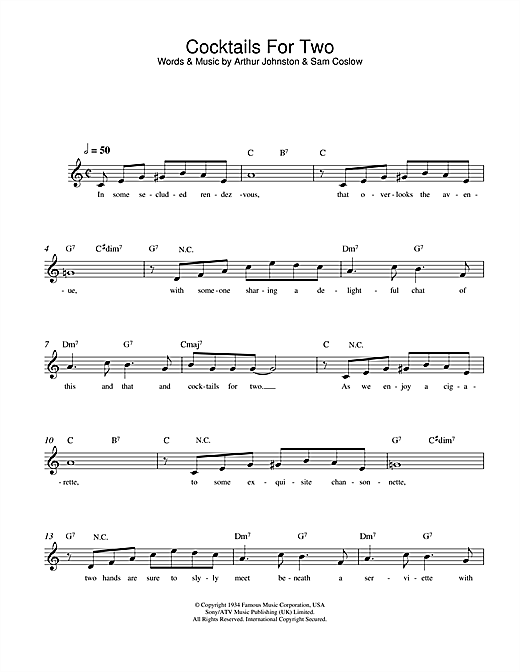Cocktails For Two Sheet Music