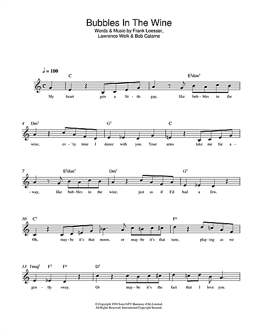 Bubbles In The Wine Sheet Music