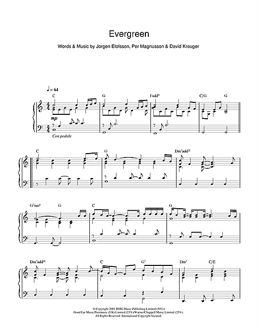Evergreen Sheet Music