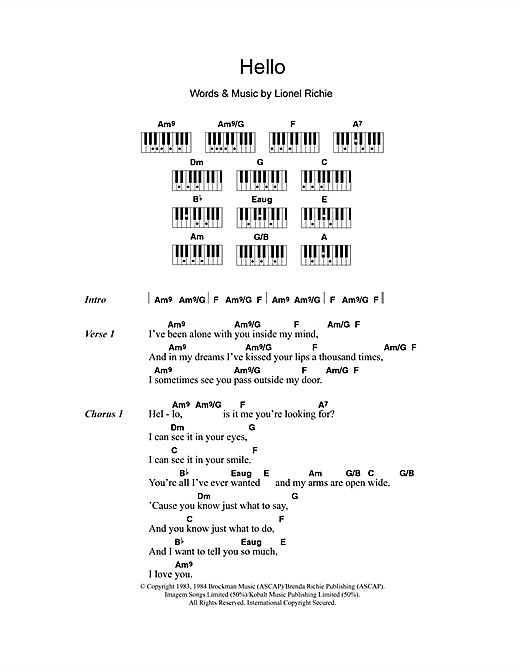 Hello Sheet Music By Lionel Richie Lyrics Piano Chords 108281