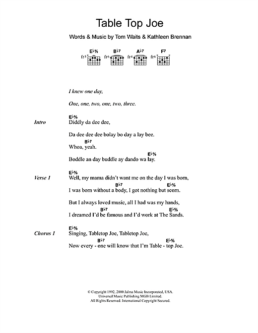 Table Top Joe Sheet Music
