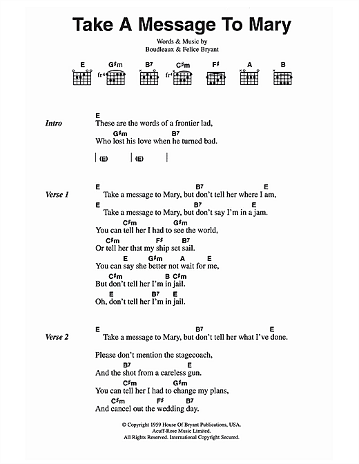 Take A Message To Mary (Guitar Chords/Lyrics)