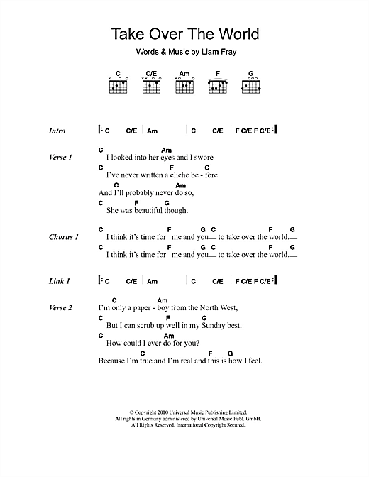 Take Over The World sheet music by The Courteeners (Lyrics ...