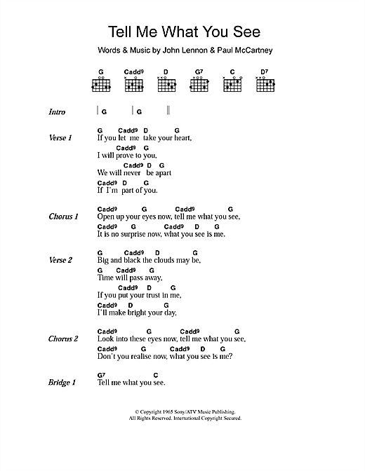 Tell Me What You See (Guitar Chords/Lyrics)