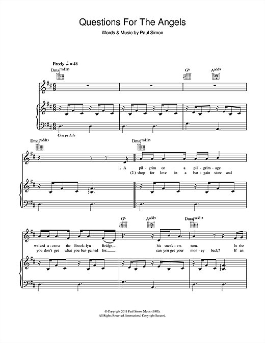 Questions For The Angels Sheet Music