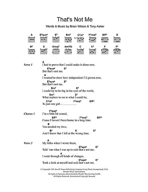 That's Not Me (Guitar Chords/Lyrics)