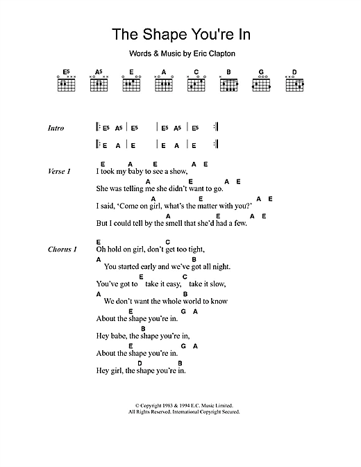 The Shape You're In (Guitar Chords/Lyrics)