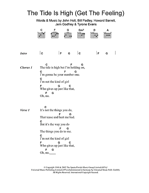 The Tide Is High (Get The Feeling) (Guitar Chords/Lyrics)