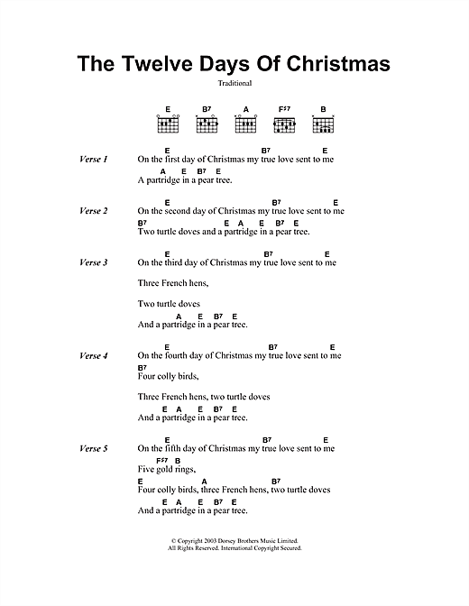 The Twelve Days Of Christmas sheet music by Christmas Carol (Lyrics u0026 Chords u2013 108389)