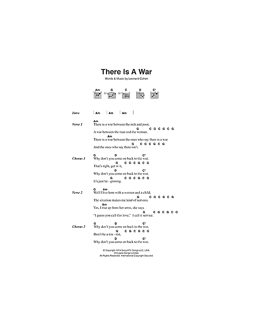 There Is A War (Guitar Chords/Lyrics)