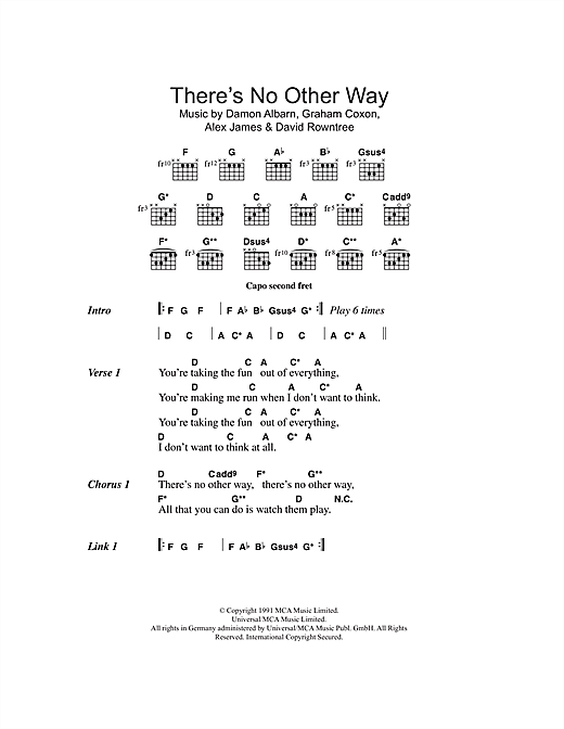 There's No Other Way (Guitar Chords/Lyrics)