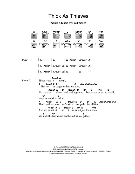 Thick As Thieves (Guitar Chords/Lyrics)