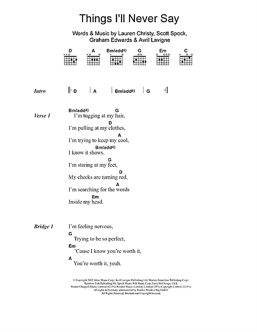 Things Ill Never Say Sheet Music By Avril Lavigne Lyrics Chords