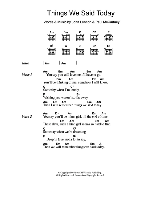 Things We Said Today (Guitar Chords/Lyrics)