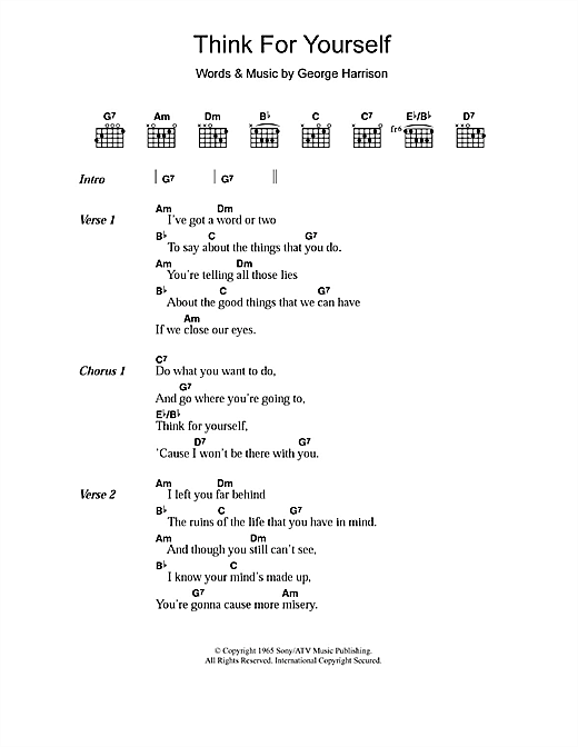 Think For Yourself (Guitar Chords/Lyrics)