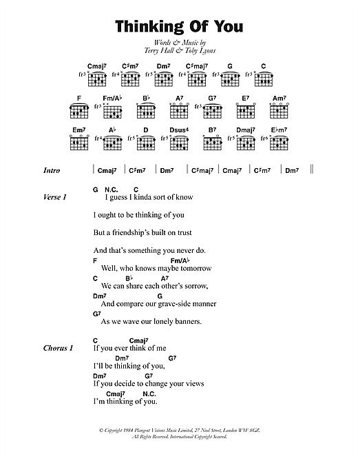 Thinking Of You sheet music by The Colourfield (Lyrics u0026 Chords u2013 108423)