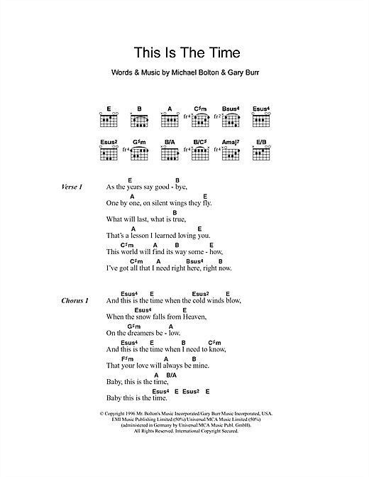 This Is The Time Sheet Music
