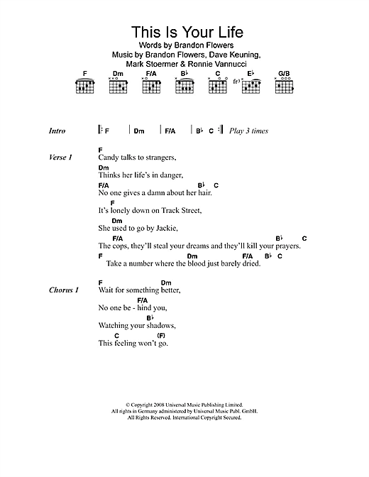 This Is Your Life (Guitar Chords/Lyrics)