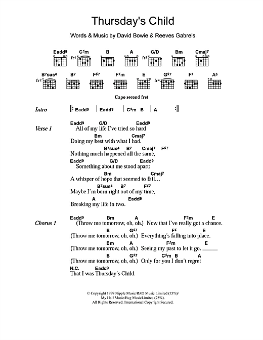 Thursday's Child (Guitar Chords/Lyrics)