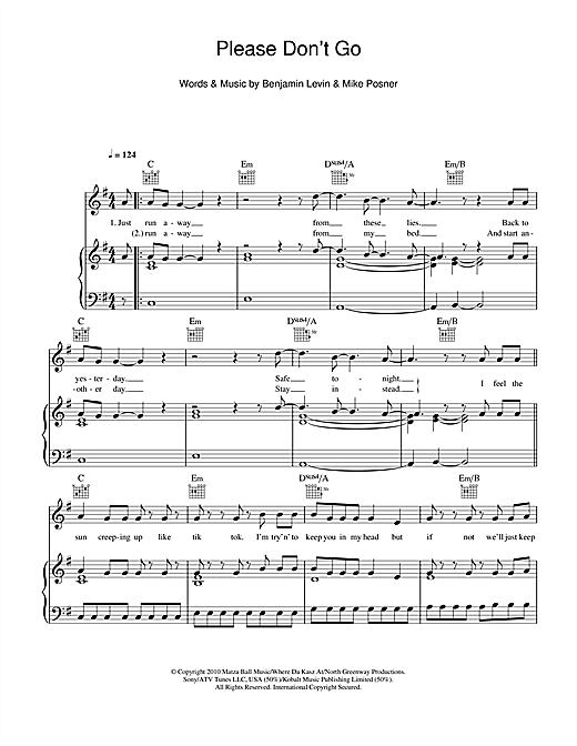 Please Don't Go Sheet Music