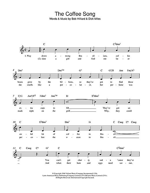 The Coffee Song Sheet Music