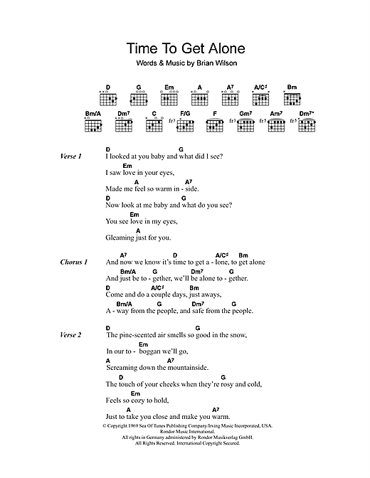 Time To Get Alone Sheet Music By The Beach Boys Lyrics Chords