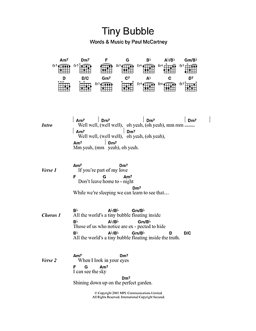 Tiny Bubble Sheet Music By Paul Mccartney Lyrics Chords 108464