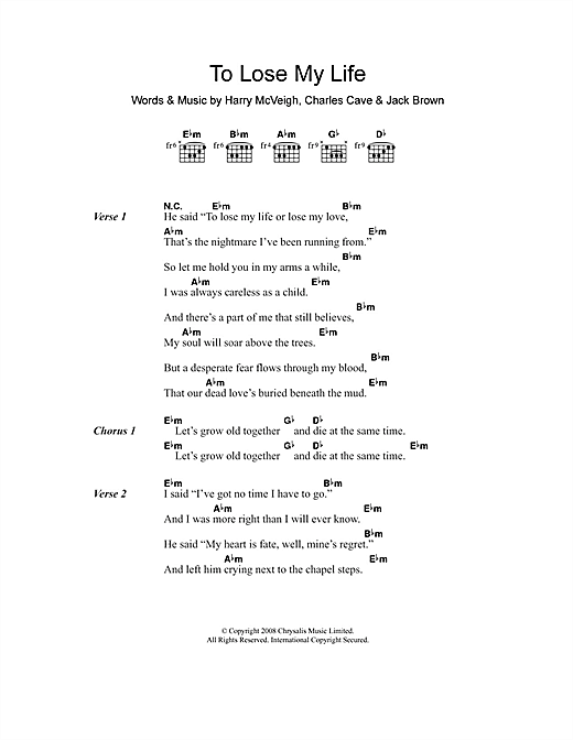 To Lose My Life (Guitar Chords/Lyrics)