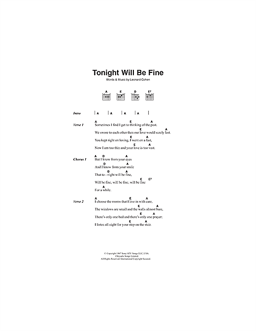 Tonight Will Be Fine Sheet Music