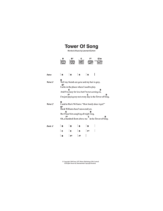Tower Of Song (Guitar Chords/Lyrics)