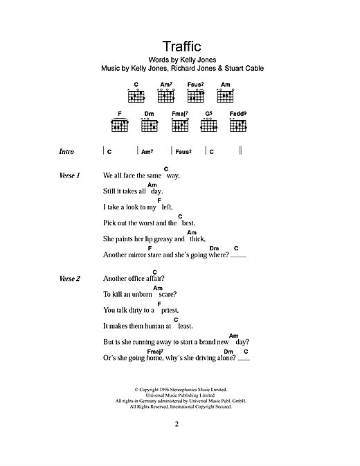 Traffic Sheet Music