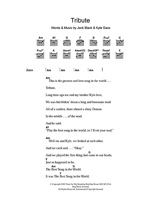 Tribute (Guitar Chords/Lyrics)