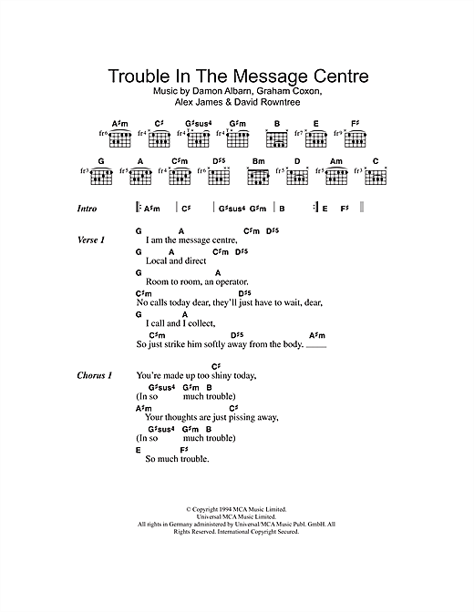 Trouble In The Message Centre Sheet Music