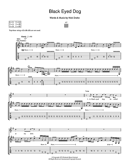Tablature guitare Black Eyed Dog de Nick Drake - Tablature Guitare