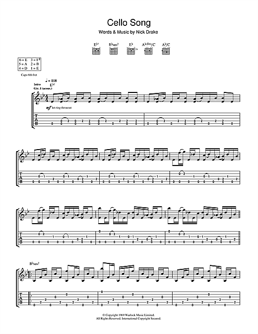 Cello Song Sheet Music